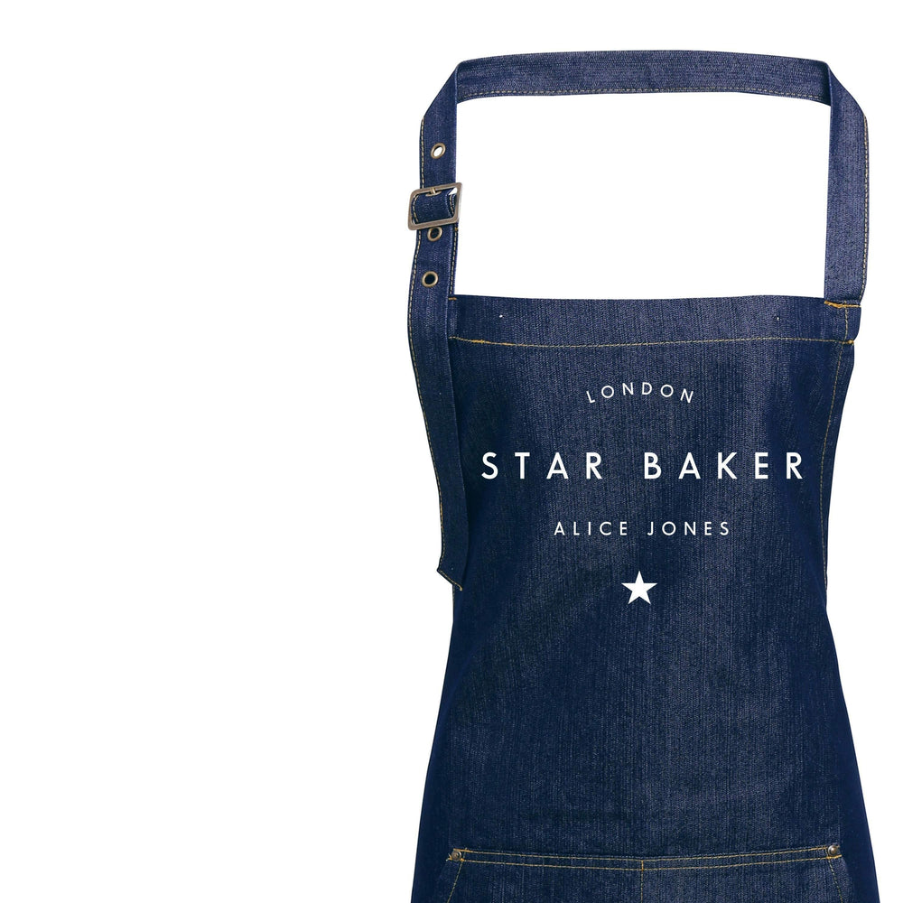 Personalised Denim Apron | Star Baker Apron | Aprons for Men | Aprons for Women | Personalised Apron | Vintage Style Apron | Denim Apron