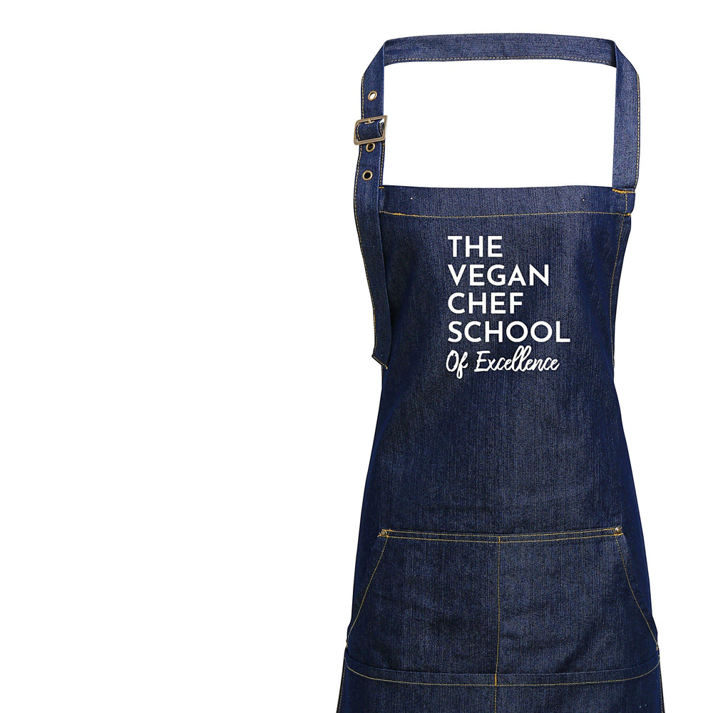 The Vegan Chef School Denim Apron - Glam & Co Designs Ltd