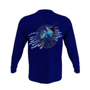 Guy Harvey Men's Expedition L/S Crew Tshirt Estate Blue