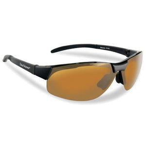Flying Fishermen MAVERICK SUNGLASSES, BLACK TR 90 GRILAMID FRAME, AMBER LENS, LARGE FIT, .8 OZS