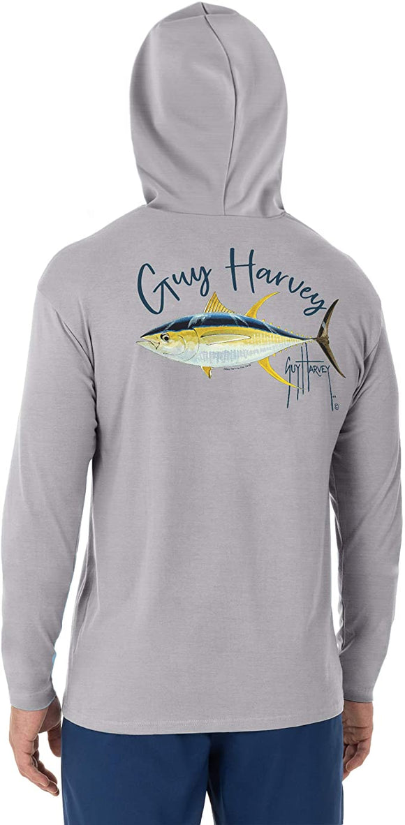 Guy Harvey Men's Yellow Fin Tuna Logo Long Sleeve Hoodie, Heather Grey