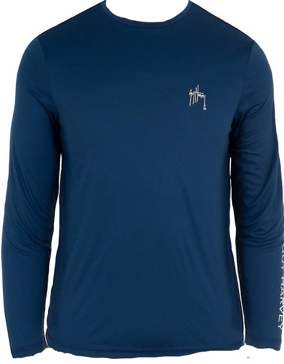 Guy Harvey Men's Core Solid Long Sleeve Graphic T-shirt Estate Blue