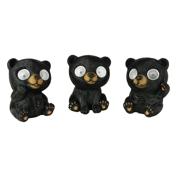 LED SOLAR GARDEN LIGHTS 3-PACK - CUTE BEAR