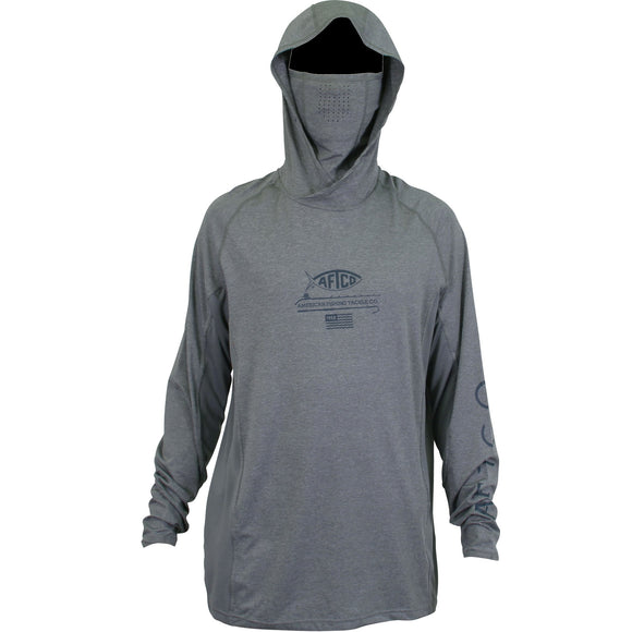 BARRACUDA GEO COOL™ HOODED LS PERFORMANCE T-SHIRT GRAY HEATHER