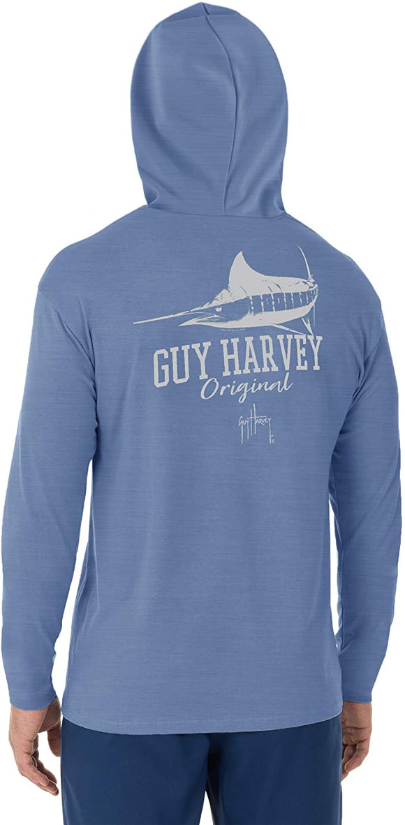 Guy Harvey Men's Marlin Shadow Long Sleeve Hoodie, Denim Shirt