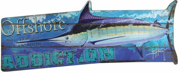 GUY HARVEY MARLIN-WOOD SIGN 34IN X 14IN