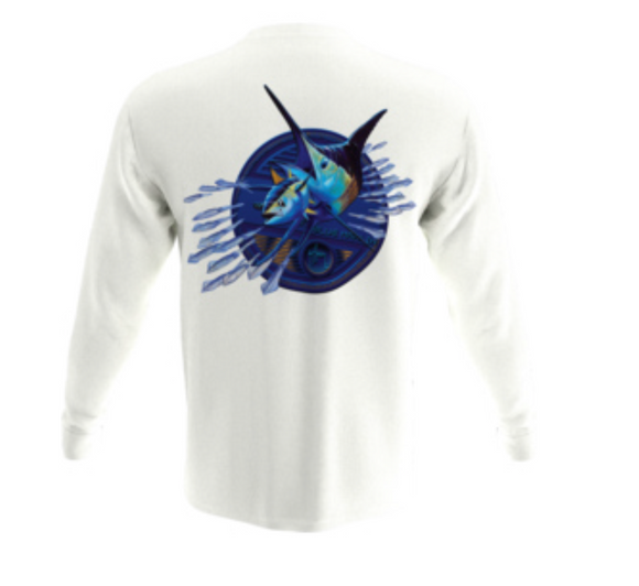Guy Harvey Men's Expedition L/S Crew Tshirt Bright White