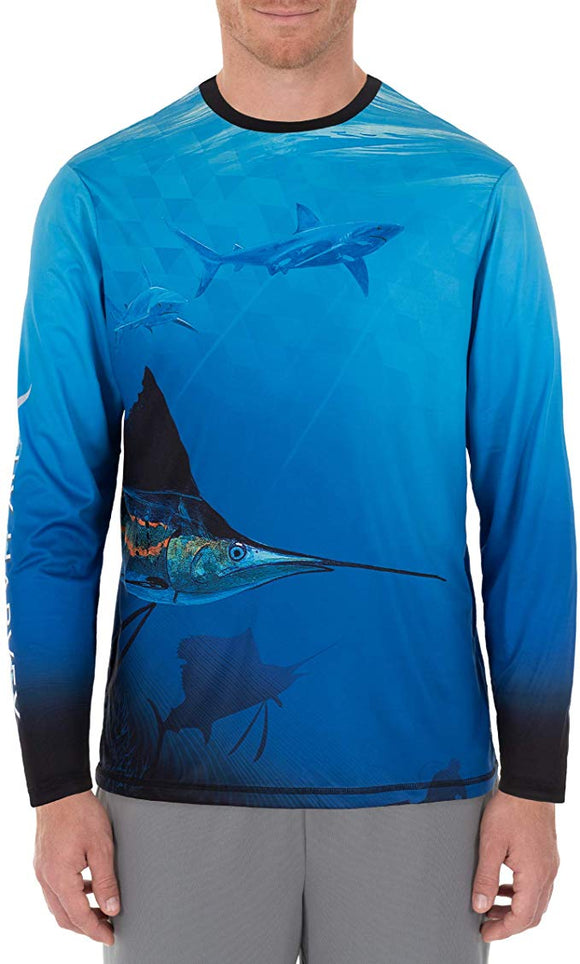 Guy Harvey's Men's Beneath Surface Sun Protection Tshirt Surf The Web