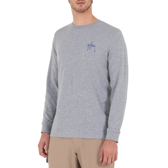 Guy Harvey Men's Long Sleeve Core Tuna Grey T-Shirt