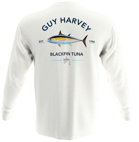 Guy Harvey Mens Blackfin Tuna L/S Tshirt Bright White
