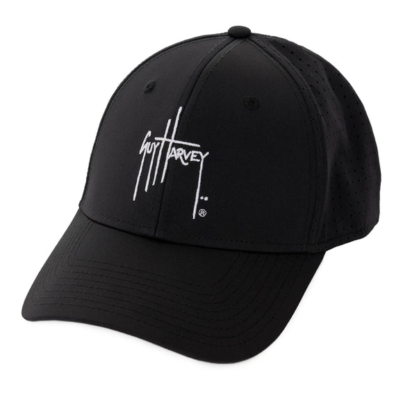 Guy Harvey Men's Perforated Performance Black Logo Hat L/XL