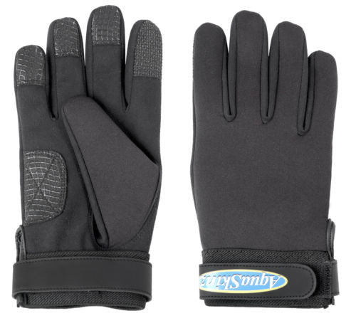 Aquaskinz Black Thunder Fishing Gloves Size LARGE - JJSPORTSFISHING.COM