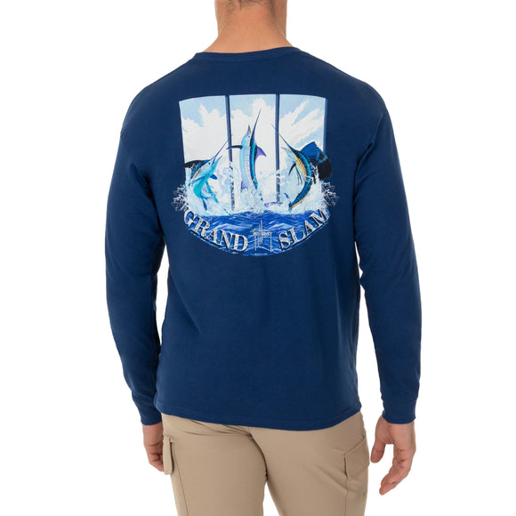 Guy Harvey Men's Long Sleeve Grandslam Navy Blue T-Shirt