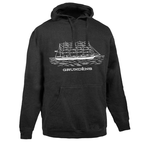 SHIP LOGO HOODED SWEATSHIRT HEATHER CHARCOAL