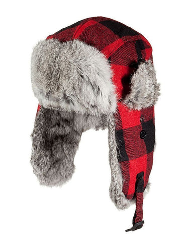 "Yukon ""Red Plaid"" Alaskan Fur Hat Model HG-880 Size Large"