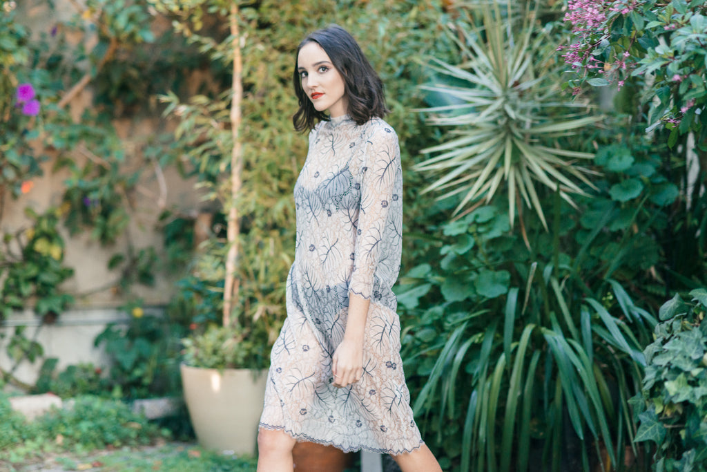 California Lace Dress in Vanilla Ice by Ganni Side View