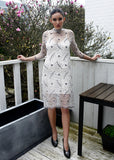 Ganni California Lace Dress in Vanilla Ice Front View