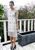 Ganni California Lace Dress in Vanilla Ice Side View