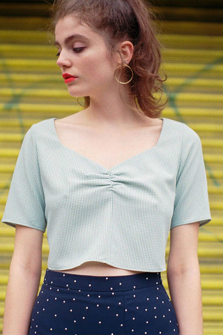 Field Day Gingham Cropped Blouse