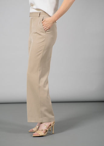 Brown Wide-Leg Tailored Pants