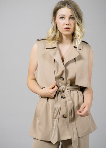 Brown Trench Detail Waistcoat