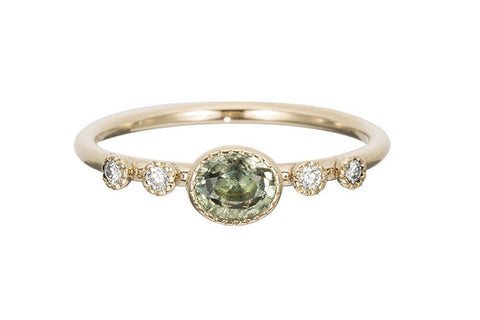 Green Sapphire Dew Ring