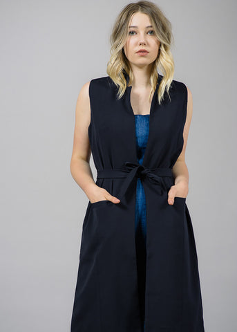 Town Belted Long Vest