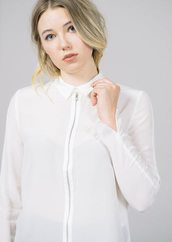 Wicked Collar Zip Silk Shirt