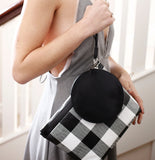 Gingham Pyramid Wristlet by KARA Bags Hand View
