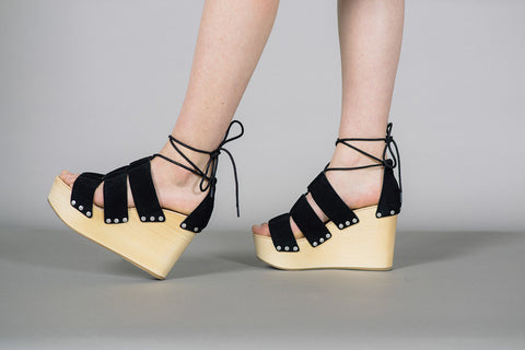 Ines Lace Up Clog Wedges