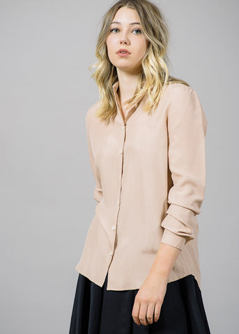 Karolina Washed Silk Shirt in Blush
