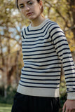 Ganni Mercer Striped Pullover in Vanilla/Eclipse