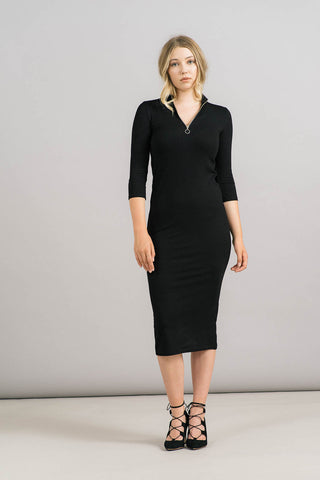 Rainy Zip Mock Neck Dress