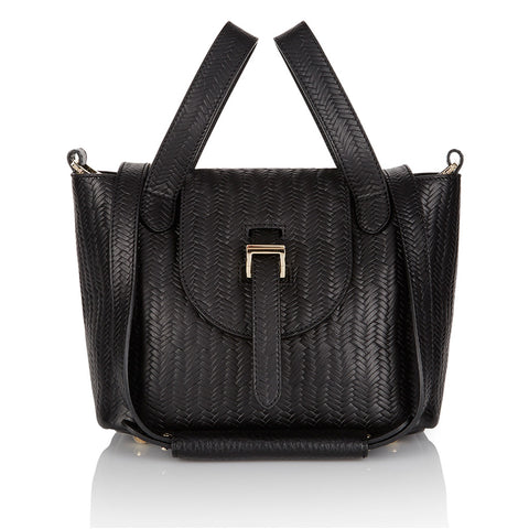 Thela Mini Black Woven Bag