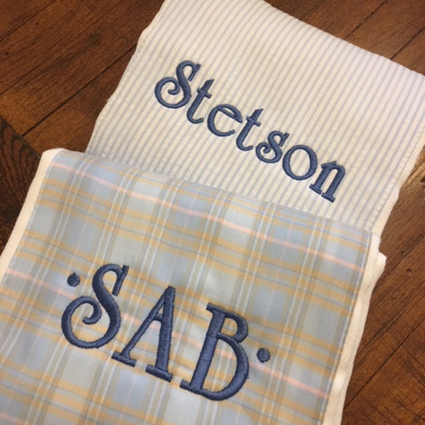 Monogrammed Plaid & Seersucker Burp Set