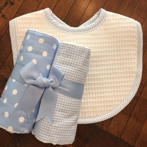 Blue Dot & Houndstooth Burp Set