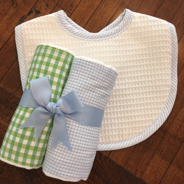 Green and Blue Gingham Burp Set
