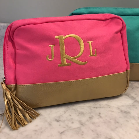Monogrammed Gold Dip Makeup Bag