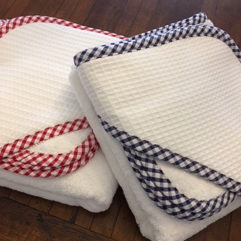 Gingham Pique Hooded Towel and Wash Cloth