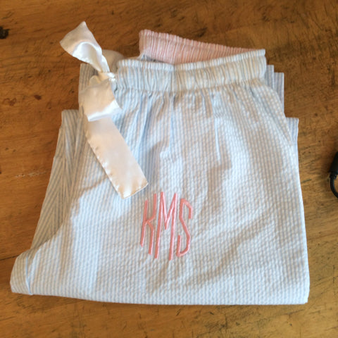 Monogrammed Seer Sucker Pajama Pants