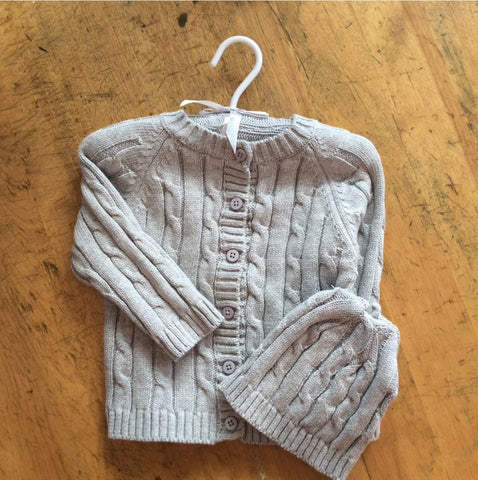 Momogrammed Grey Cable Sweater and Hat