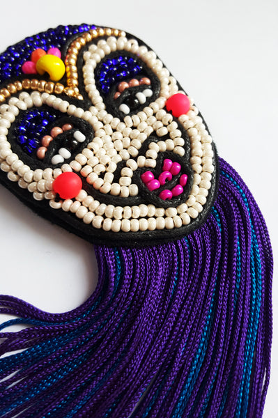 Colorful Rigoletto Inspired Mask Brooch with Long Blue and Purple Fringe