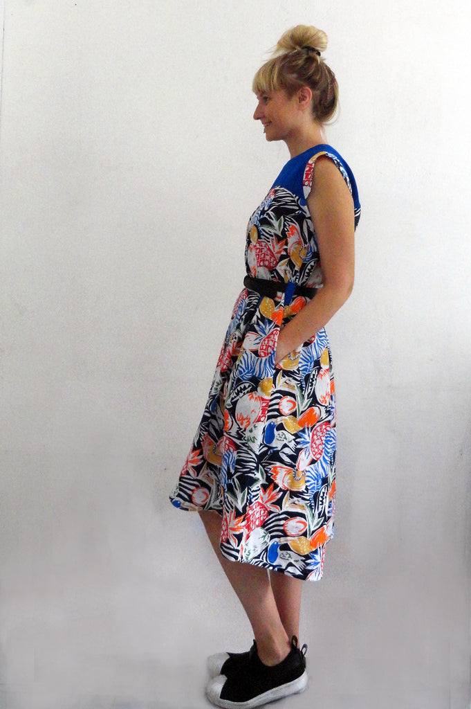 8f3c86813b ... Short Sleeve Jungle Print Summer Linen Dress with Indigo Details ...