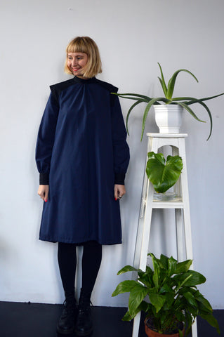 Space Warrior Queen - cotton shirt dress in dark blue with some special details