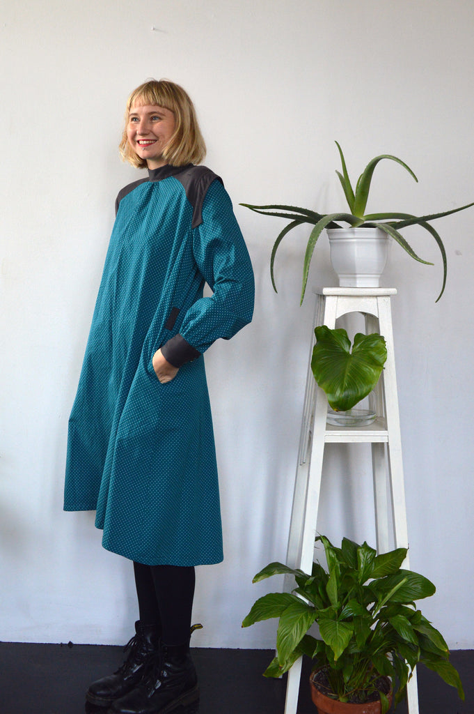 Space Warrior Queen - cotton shirt dress in sea green with some special details