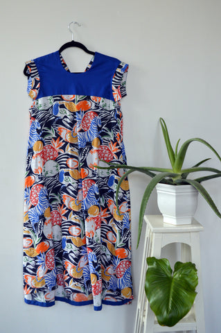 Short Sleeve Jungle Print Summer Linen Dress with Indigo Details