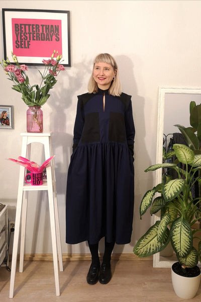 Navy Blue Versatile Cotton Shirt Dress with Wide Skirt Part and Pockets