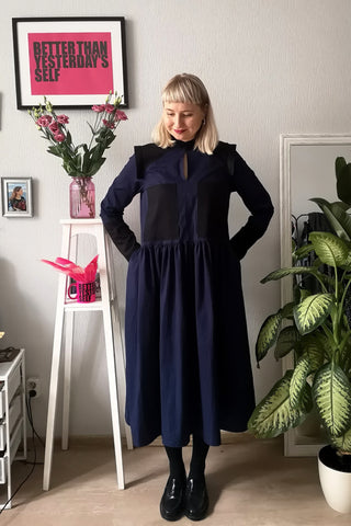 Navy Blue Versetile Cotton Shirt Dress with Wide Skirt Part and Pockets