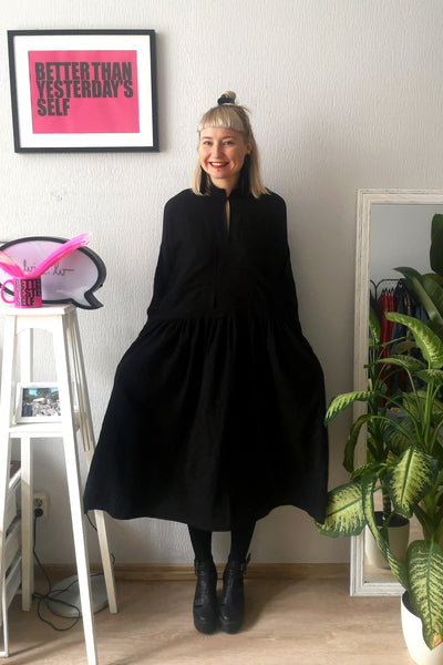 Fancy and Comfy Oversized Black Linen Shirt Dress with Wide Ruffle Skirt Part