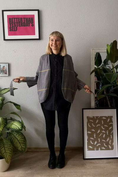 Grey Oversized Textured Linen and Wool Blend Kimono Jacket - Perfect Minimalist Piece